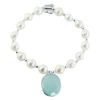 Pearl bracelet chalcedony charm and silver butterfly