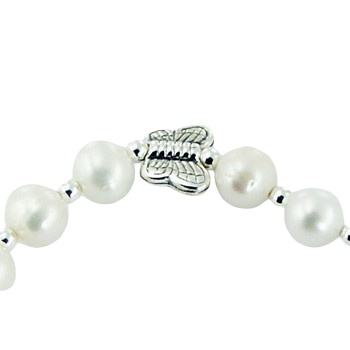 Pearl bracelet chalcedony charm and silver butterfly 3
