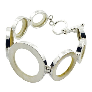 Silver bracelet mother of pearl circles