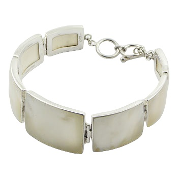 Silver bracelet mother of pearl rectangle