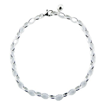 Silver rolo chain bracelet for charms