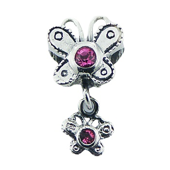 Silver bead with butterfly charm