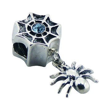 Silver bead web with spider charm
