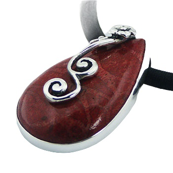 Handmade coral pendant ajoure silver leaf