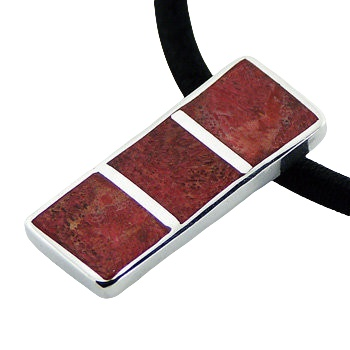 Small red coral mosaic silver pendant