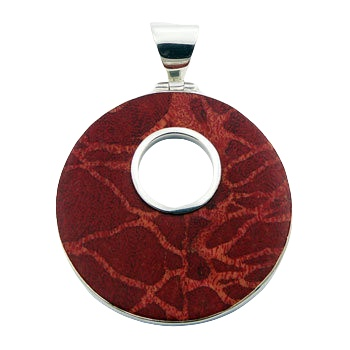 silver coral pendant disc with open circle