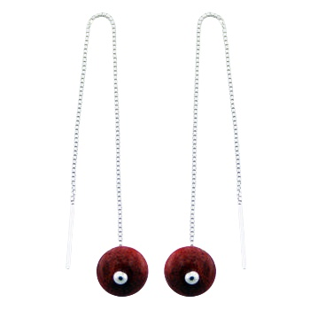Long red coral silver chain earrings