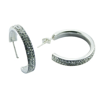 Czech crystal silver hoops earrings