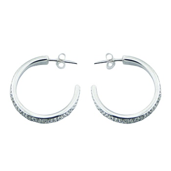 Czech crystal silver hoops earrings 2
