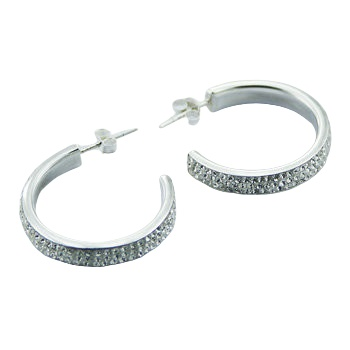 Czech crystal silver hoops earrings 3