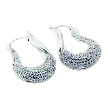 White swarovski crystals silver earrings 2