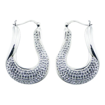 White swarovski crystals silver earrings