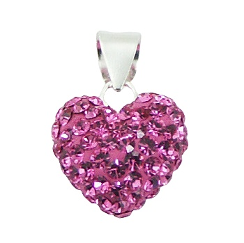 Heart shaped pendant with czech crystal elements and silver loop lock