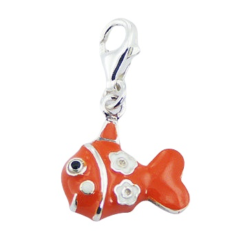 Enameled colorful fish silver charm