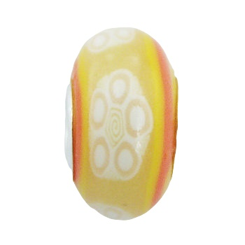 Floral sunny hand painted silver core bead
