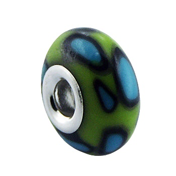 Hand painted green Fimo silver core bead