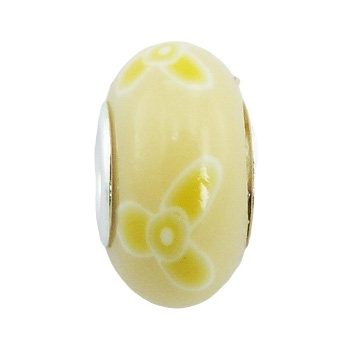 Flowers hand painted Fimo silver core bead