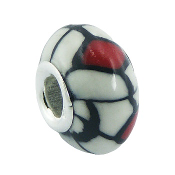 Black red white polymer fimo silver core bead