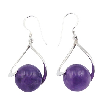 Violet amethyst loop silver earrings