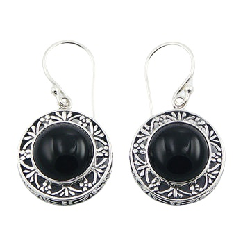 Round black agate ajoure silver earrings