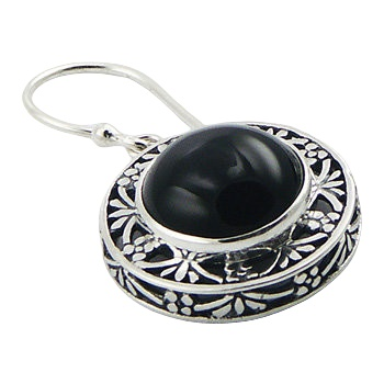 Round black agate ajoure silver earrings 2