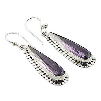 Violet cubic zirconia silver earrings