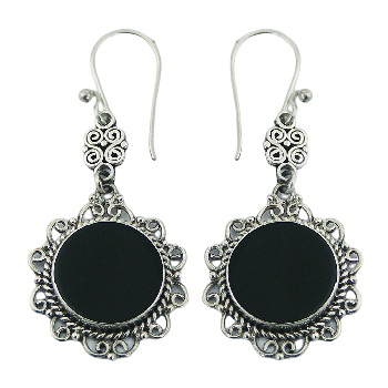 Ajoure black agate soldered silver earrings