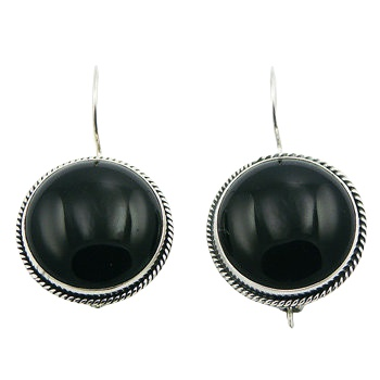 Black agate antiqued silver earrings
