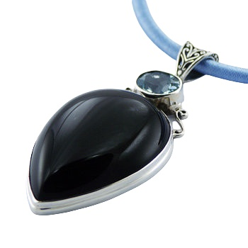 Silver black agate and blue topaz pendant