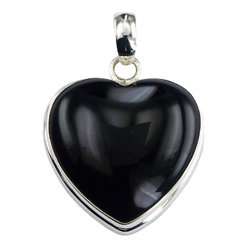 Black agate heart pendant in silver frame with bail