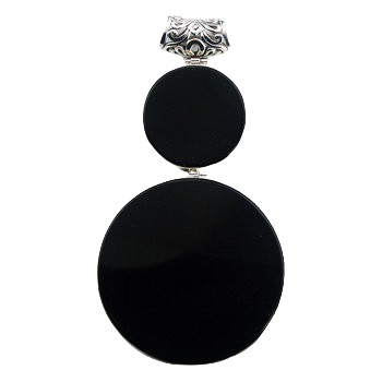 Two-piece round black agate silver pendant