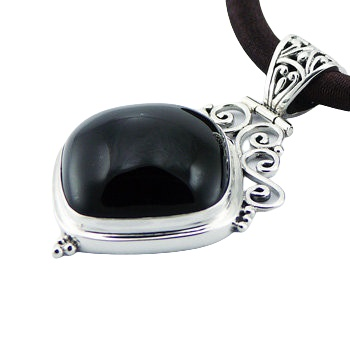 Soldered silver black or white agate gemstone pendant 5