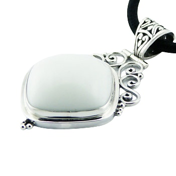 Soldered silver black or white agate gemstone pendant