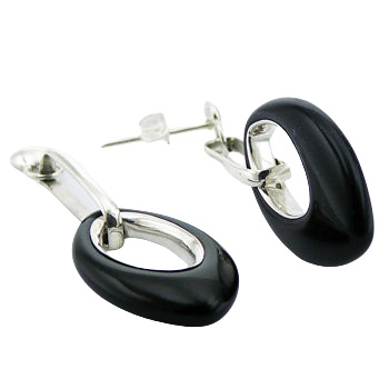 Marquise cut agate silver earrings