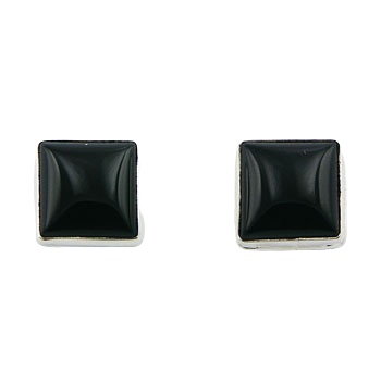 Black agate square silver stud earrings