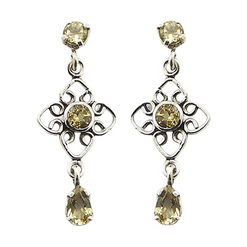 Yellow citrine wirework silver earrings