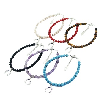 Bracelet with gemstones of your choice with silver horseshoe charm 3