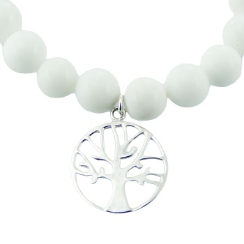 White agate stretch bracelet silver tree of life charm 2