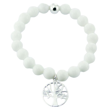 White agate stretch bracelet silver tree of life charm