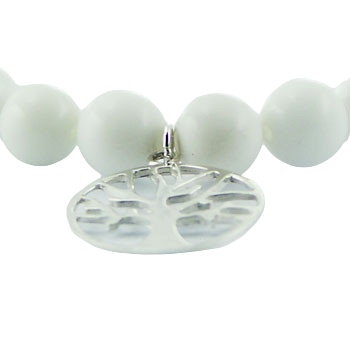 White agate stretch bracelet silver tree of life charm 3