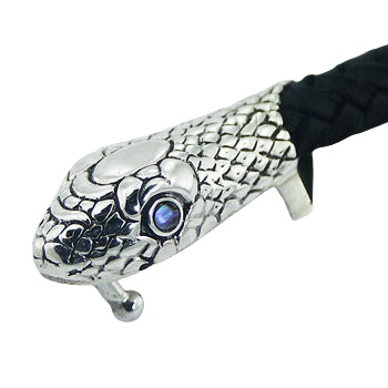 Black leather bracelet silver snake head 2