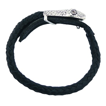 Black leather bracelet silver snake head