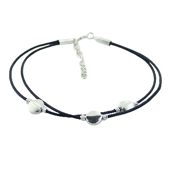 Double leather bracelet 3 silver discs