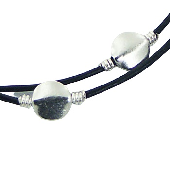 Double leather bracelet 3 silver discs 2