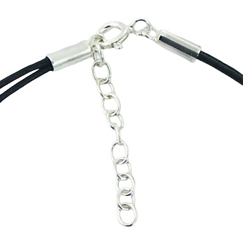 Double leather bracelet 3 silver discs 3