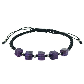 Macrame bracelet cube amethyst and silver beads