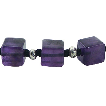 Macrame bracelet cube amethyst and silver beads 2