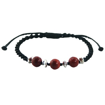 Macrame bracelet red coral silver beads