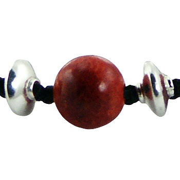 Macrame bracelet red coral silver beads 2
