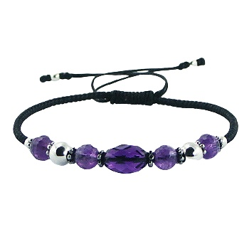 Macrame bracelet amethyst, glass and silver beads